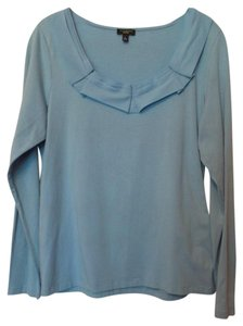 Talbots Knit Cotton Large Long Sleeves Crepe Top Light Aqua Blue