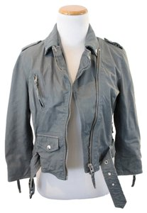 AllSaints Leather All Saints sky blue Leather Jacket