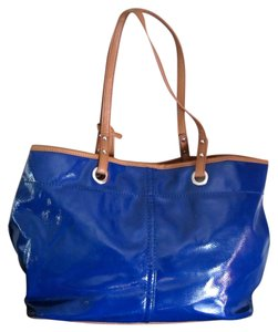 Nine West Faux Patent Tote in Royal Blue with Tan Trim
