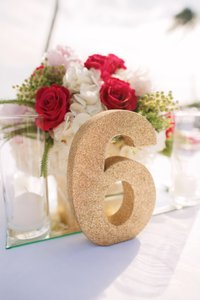 Wooden Wedding Table Numbers - Gold Glitter