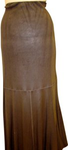 Rozae Nichols Flared Foil-coated Faux Leather Chocolate Brown Maxi Skirt Chocolate Metallic