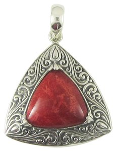 Island Silversmith Island Silversmith Ornate Genuine Red Coral 925 Sterling Silver Tribal Pendant 0801L *FREE SHIPPING*