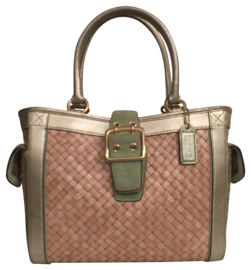 Preload https://img-static.tradesy.com/item/15243061/coach-straw-4419-tote-green-gold-suede-leather-satchel-0-1-540-540.jpg