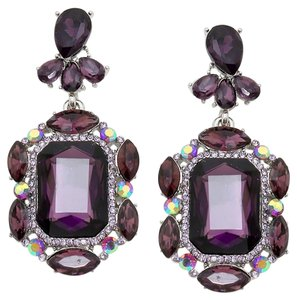 Emerald Cut Rhinestone Crystal Tanzanite Purple Earrings