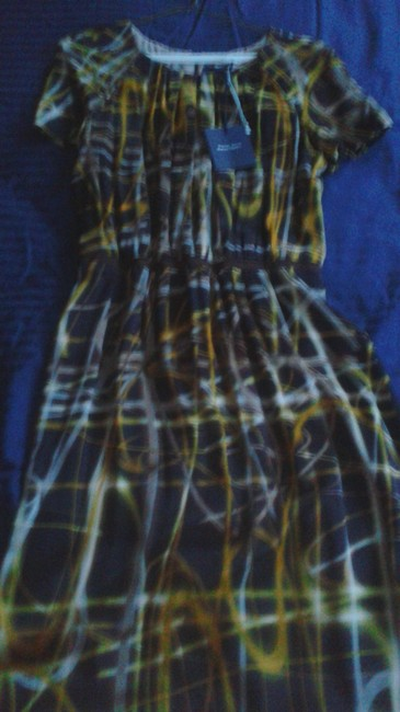 Item - Multi Brown Print Silk Mid-length Night Out Dress Size 10 (M)
