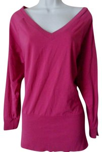 Spiegel V-neck Ribbed Waist Pima Cotton T Shirt Mauve