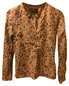 Maison Scotch Star Pattern Button Down Shirt Black stars on beige