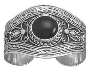 Sterling Collections (New) Oxidized Ornate Sterling Silver Cuff Bracelet with Black Onyx