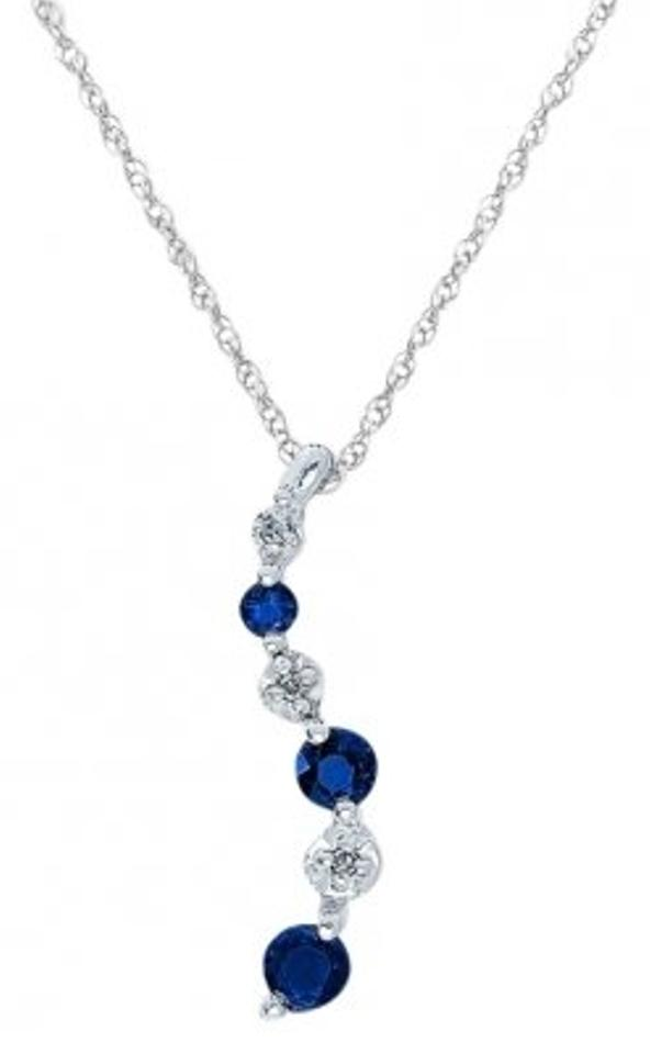 Jared Blue Natural Sapphire And Diamond Journey Pendant Necklace