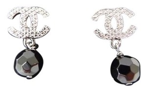Chanel Chanel CC Logo Dark Silver Round Facetted Black Onyx Earrings Brand New in Box
