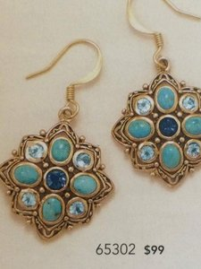 FREE Shipping/ 30% OFF (New) Bronze Earrings with Blue Topaz and Reconstituted Turquoise