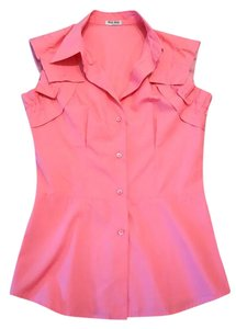 Miu Miu Cotton Pleated Top Pink