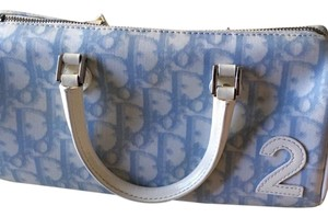 Dior Satchel in Light Blue And White