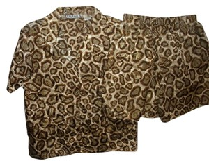 Details Leopard Animal Set Suit Silky Dress Shorts brown