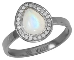 Midnight Collection Halo Ring With .12 ctw Gray Diamonds and 1.45 ctw Moonstone (available sizes 5-9)