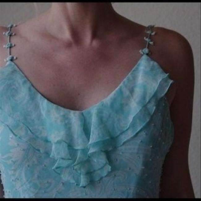 Other Cocktail Betsey Bow Bead Teal Turquoise Boho Festival Gypsy Prairie Dress