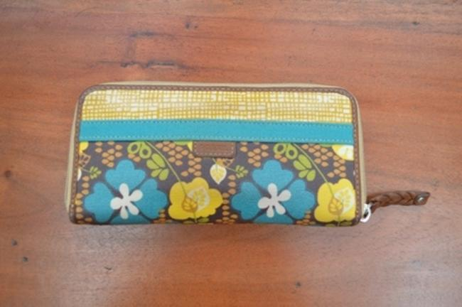 Item - Multi Colored Brown Yellow Turquoise Coated Canvas Baguette