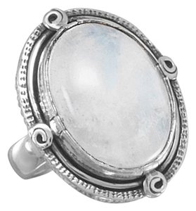 Sterling Silver Oxidized Oval Rainbow Moonstone Ring (sizes 6-10)