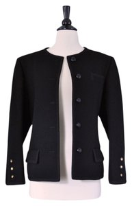 Saint Laurent Yves Ysl Classic Made In France Wool Gold Buttons Pockets Coat Haute Couture Vintage Vintage Designer Timeless black Blazer