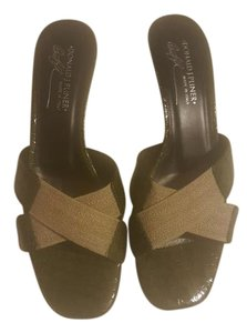 Donald J. Pliner Olive green with canvas tan straps Sandals