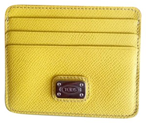 Tod's Tod's Leather Card Holder with Branded Metal Plate - Yellow