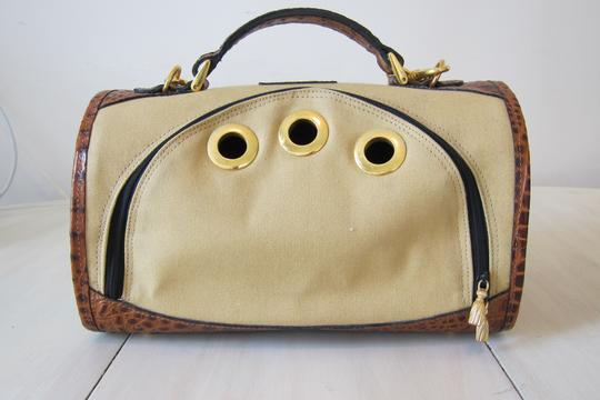 Other Dog Dog Purse Dog Carrier Pet Tote in Beige, Chocolate Crocodile