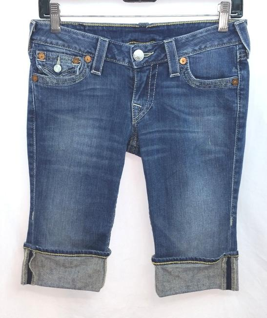 True Religion Blue Jeans Pants Cuffed Shorts Image 3
