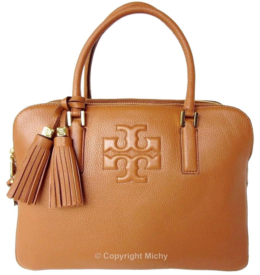 4681628bc2c Tory Burch Leather Tassels Tb Thea Triple Zip Satchel in Bark (Saddle  Brown) Image ...