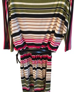 Maggy London short dress Striped: black, moss green and hot pink on Tradesy