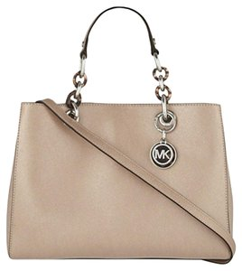 Michael Kors Cynthia Medium Saffiano Leather Satchel in Ballet / Silver