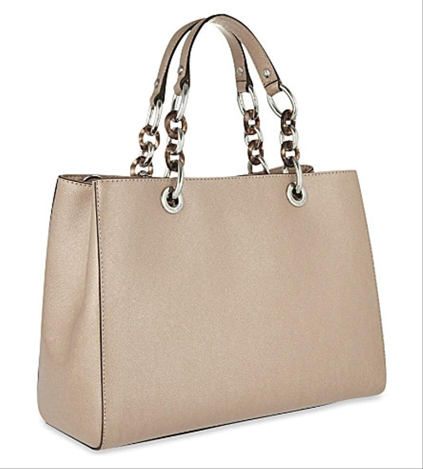 cdffaf229c22 MICHAEL Michael Kors Cynthia Medium Saffiano Leather Satchel in Ballet /  Silver Image 5. 123456