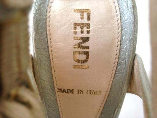 Fendi Vintage T Strap Mother Of Pearl Powder Retro High Heel Ankle Strap Thick Heel Pearlescent Baby Blue Platforms