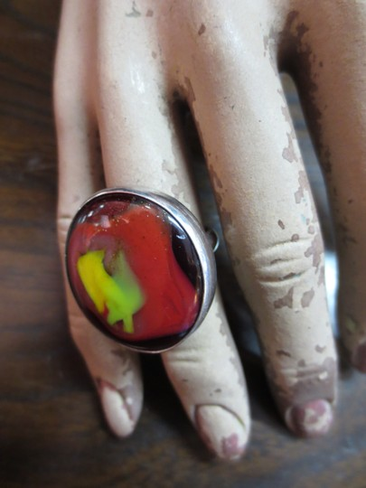 Other Vintage Art Glass and Sterling Silver Ring Size 7