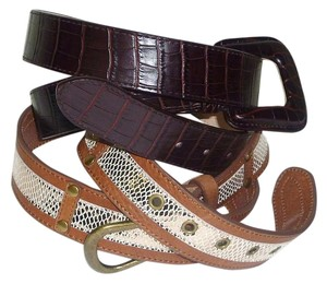 Chico's Lot 2 Hype & Chico's Snakeskin Embossed Leather Belts EUC Size L