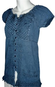Lirome Fringe Hem Embroidered Top Denim Blue