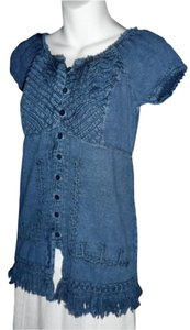 Lirome Fringe Hem Embroidered Casual Top Denim Blue