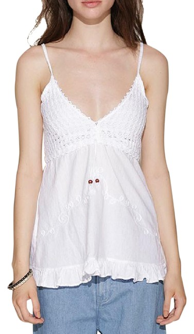 Lirome Embroidered Casual Sexy Empire Waist Top White Image 1