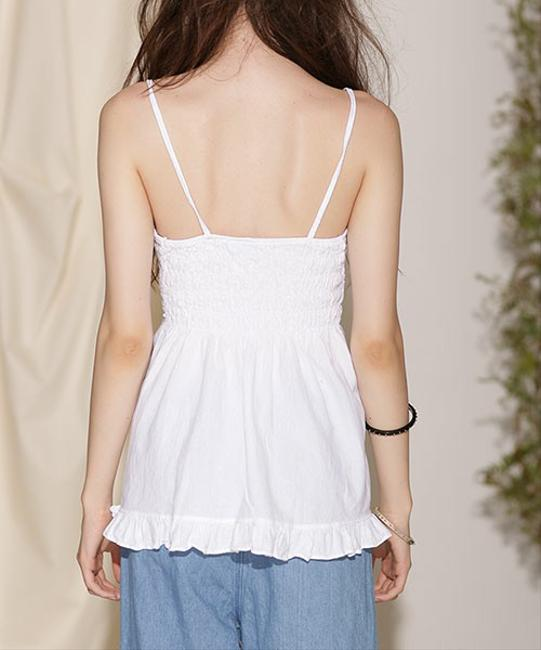 Lirome Embroidered Casual Sexy Empire Waist Top White Image 3