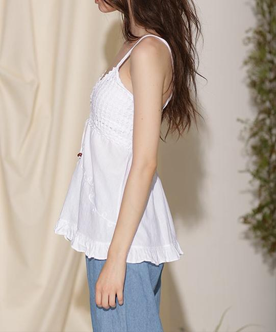 Lirome Embroidered Casual Sexy Empire Waist Top White Image 4