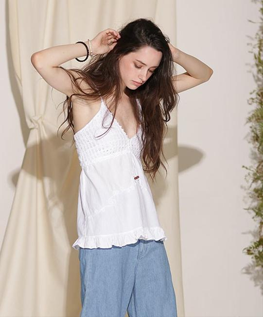Lirome Embroidered Casual Sexy Empire Waist Top White Image 5