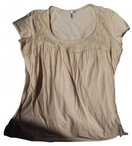 Metro Lace Casual T Shirt Cream