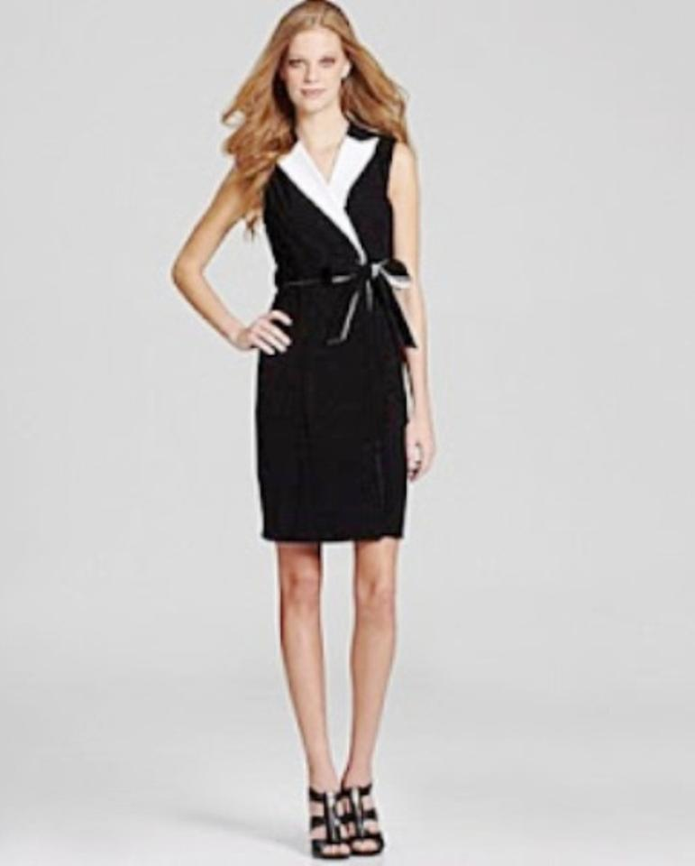 Calvin Klein Black / White Contrast Tuxedo Knee Length Formal Dress ...