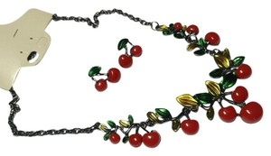 Other New Cherries Bib Necklace Earrings Set 2 Pc. Red Green J2512