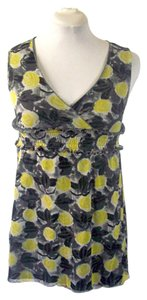 Vertigo Paris Babydoll Floral Sleeveless Mesh Top Yellow Floral