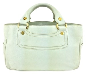 Céline Leather Silver Hardware Logo Satchel in White