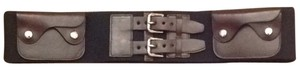 Ralph Lauren black RL belt with brown leather pockets and buckle finishing