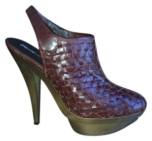 Elizabeth and James Woven Slingback Platform Clog Rust Boots
