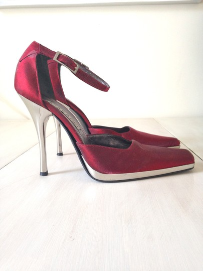 Casadei Vintage Satin Silk Holiday Ankle Strap Square Toe Red Pumps
