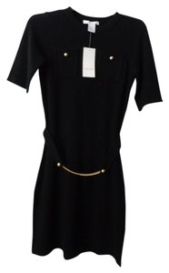 Design History Cashmere Lbd Gold Hardware Sweater Dress