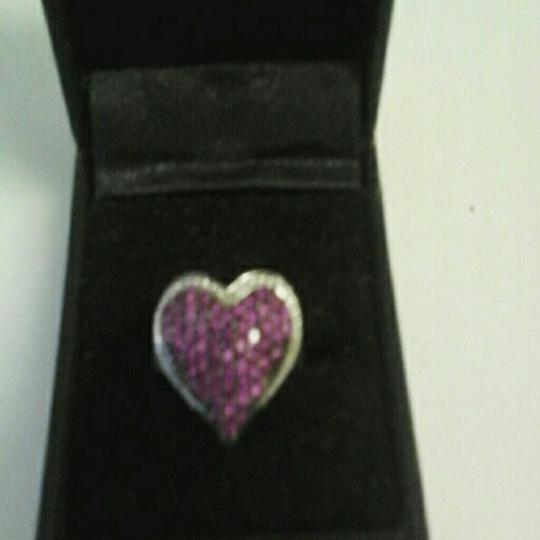 Other GENUINE RED RUBY AND WHITE SAPPHIRE HEART SHAPED STERLING SILVER RING SIZE 8
